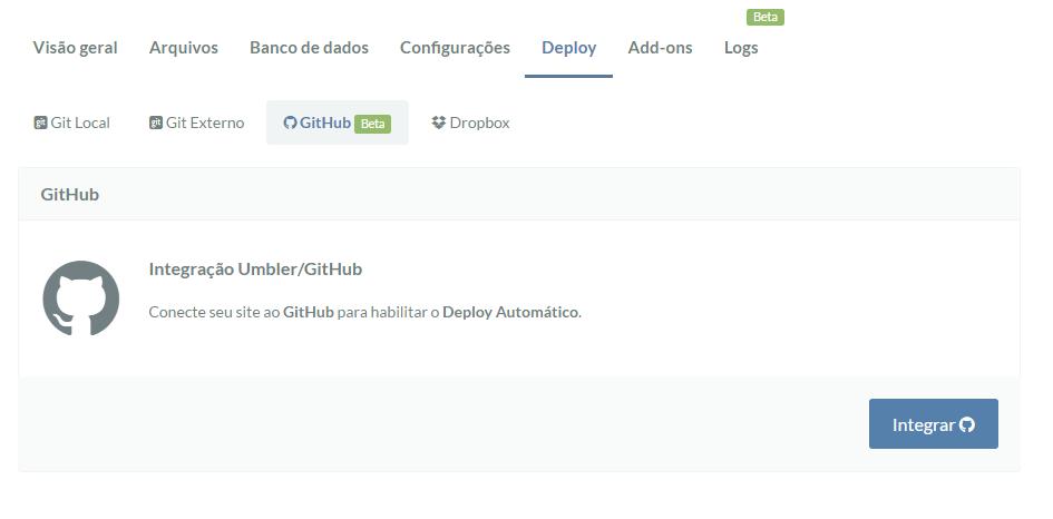 Primeiro passo da Configuração do GitHub na Umbler