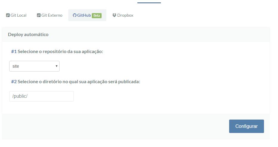Configurando Repositório e Destino para deploy via GitHub na Umbler