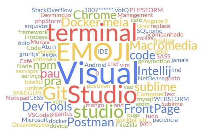 Um wordcloud das ferramentas escolhidas pelo nosso público