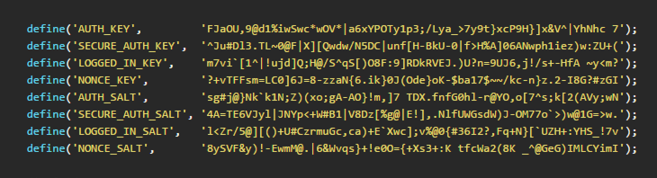 Exemplo de retorno do serviço secret-key do WordPress.org