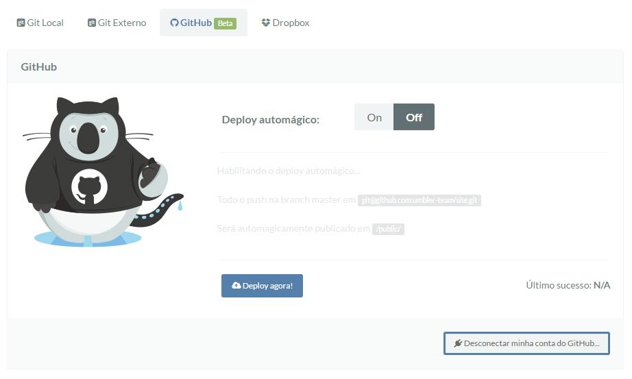 Tela de Deploy via GitHub na Umbler